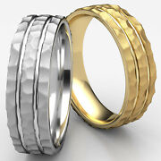 7.5mm Hammered Polished 2 Cuts Wedding Band Man Menand039s Womenand039s 14k Gold Ring