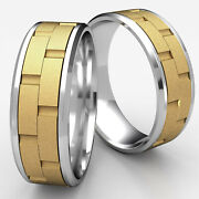 Chain Link Beveled Edge Satin Finished Menand039s 2 Tone Gold Carved 8mm Wedding Band