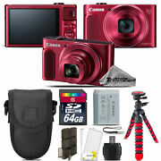 Canon Powershot Sx620 Hs Point And Shoot Camera Red + Tripod + Case - 64gb Kit