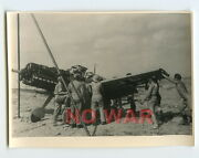 Wwii Original German Photo Luftwaffe Technical Crew And Airplane On Airdrome Dak