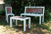 Metal Furniture Art Bench Set And039peace In The Gardenand039 New Age Industrial Look