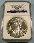 2013-w Ngc Ms70 American Silver Eagle Ms 70 Early Release West Point Ms 70