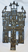 Large Russian Enamelled Bronze Crucifix W/ Bible Scenes And Script - Early 19thc