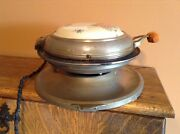 Antique Early Royal Rochester Porcelain Floral Top Wood Handle Waffle Maker