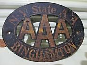 Rare Vintage 1950s Ny State Aa Aaa Binghamton Steel 4 By 5.5 Inch Plaque/sign
