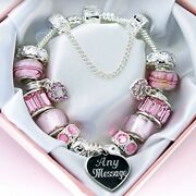 Personalised Gifts Engraved Bracelet For Women And Girls Pink Beads Freepost