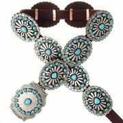 Navajo Sleeping Beauty Turquoise Concho Belt Old Pawn Style Stamped Silver