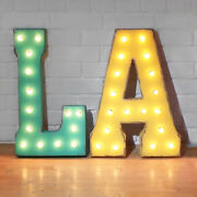 La Sign Light Up Rustic Vintage Style Metal Marquee Sign California Los Angeles