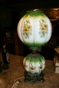 Vintage 1971 L And L Wmc Co. Hurricane Lamp Gwtw - Brass Glass Green Floral 21