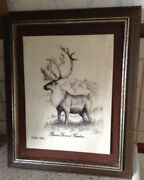 Alaska Mint Barren Ground Caribou Etched On Marble By Bill Devine Framed