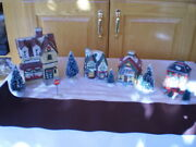 Lot Of 4 Christmas Ceramic Village Houses, 1 Lighted, 5 Trees,road, Stop Sign