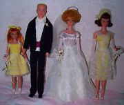 Vintage 1017 Barbie Wedding Party 4 Dolls Gift Set With Trunk Super Rare