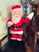 Large 34 Vintage Rubber Face Santa Claus Doll By Superior Toy And Novelty Co.