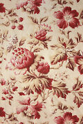 Fabric Antique French 19th Century Bed Curtain Botanical Pink Belle Epoque C1880