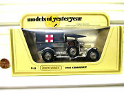 Matchbox Xrare Lesney Yesteryear Y13 Charcoal Roof 1918 Gold Crossley Raf Tender