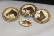 Vintage Western American 4 Piece Lot Bridle Harness Buttons Or Leather Ornaments