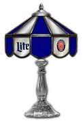 Miller Lite Beer Stained Glass Mirror Table 14 Light Lamp