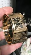 Antique Style Hand Made Arabic Islamic 18ct Gold Carved Bangle Bracelet