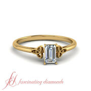 Emerald Cut Lab Diamond Cathedral Celtic Engagement Ring In Yellow Gold 0.90 Ctw