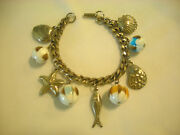 Vintage Dangling Sea Shell Ocean Charm Bracelet Unsigned Starfish Fish Beads