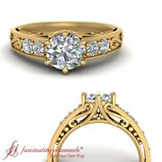 3/4 Carat Round Diamond Vintage Style 5 Stone Engagement Ring In 18k Yellow Gold