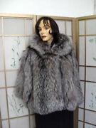 New Hooded Natural Silver Fox Fur Cape Shawl Wrap For Women Size Medium To Large