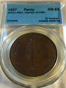Lower Canada Quebec Bank 1837 Penny Breton 521 Lc-9b4 Cccs Ms-62 Inv 3644