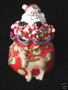 New In Box Fitz And Floyd Kringle Santa Claus Cookie Jar Great Christmas Gift