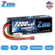 Zeee 7200mah 80c 3s 11.1v Lipo Battery Deans Plug Hardcase For Rc Truck Car Boat