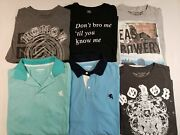 Very Nice Lot Of 6 Express Mens Short Sleeve Polo / T Shirts M