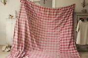 Antique French Vichy Check Fabric Rose Red 1700's Early C1750-1800