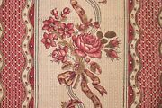Fabric Antique French Block Printed 18th Century Floral And Stripe Siamoise Ground