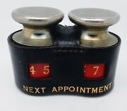 Vintage English Leather Desktop Balance Scale Appointment Reminder And Paperweight