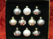 10 Christmas Ornaments Mini 1.5 Tree Decorations Silver White Gold New