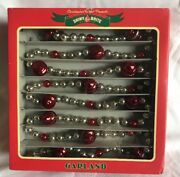 Christopher Radko Shiny Brite Blown Glass Christmas Garland Red And Silver