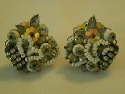 Intricate Work Alice Caviness Signed Vintage Clip Earrings Rhinestones White