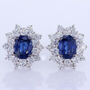 4.70 Ct Sapphire And Diamond Flower Earrings F Si 18k White Gold