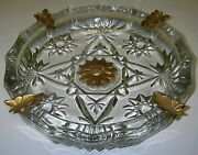 Anchor Hocking Prescut Eapc Clear Ashtray W Gold Leaves And Flower Star Of David.