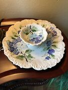 Chip/dip Dish Made In Italy Pansy Design Great