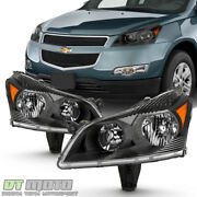 2009-2012 Chevy Traverse Ls/lt Black Headlights Headlamps Replacement Left+right