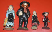 Vintage Antique Amish Family Cast Iron Metal Painted Figurines Toys Ma Pa And Kids