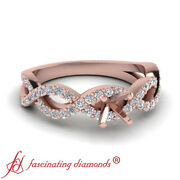 Half Carat Semi Mount Round Accented Infinity Twist Engagement Ring In Rose Gold