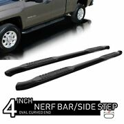 Fit 99-18 Chevy Silverado Extended Cab 4 Oval Black Curved Nerf Bar Side Step