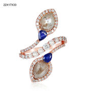 18k Solid Rose Gold Ice Diamond 0.6ct Blue Sapphire Spiral Ring Jewelry For Her