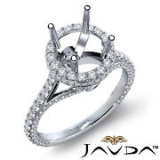 Round Diamond Engagement Circa Halo Pave Bridge Accent Semi Mount Ring 1.26ct