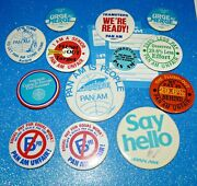 Vintage Pan Am Airlines Unfair Buttons Lot Pin Airline Collectible Rare