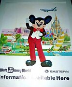 Vtg Walt Disney World Eastern Airlines Headquarters Display Poster Mickey Mouse
