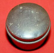 Vtg Antique Old Sterling Silver Round Pill/snuff Box Stamped Sterling 1110 B2
