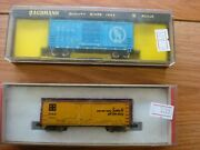 2 N Scale Box Cars -bachmann 5142 41' Hi Cube Great Northern And Con Cor Sfrd Box