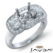 Diamond Engagement 3 Stone Milgrain Ring Cushion Semi Mount Halo Pave 1.05ct.